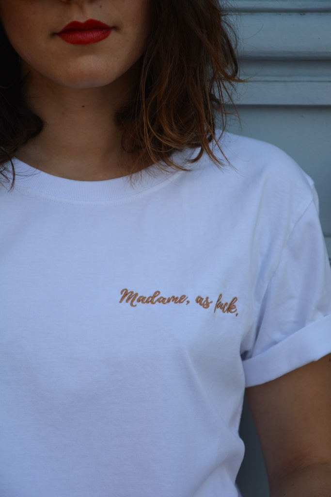 tee-shirt de mariée madame as fuck broderie